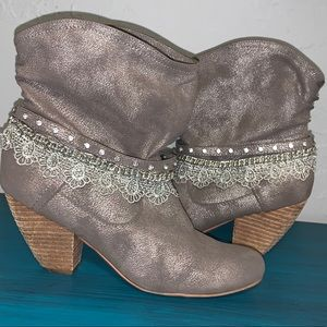 Not Rated Metallic Booties with lace/rhinestones